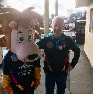 SPIN mascot and Barry O'Mara