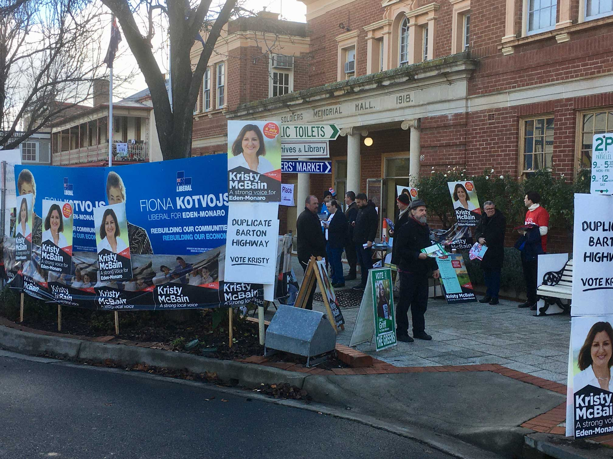 Election Day - Yass Soldiers Memorial Hall gardens staked oyt with candidate signage
