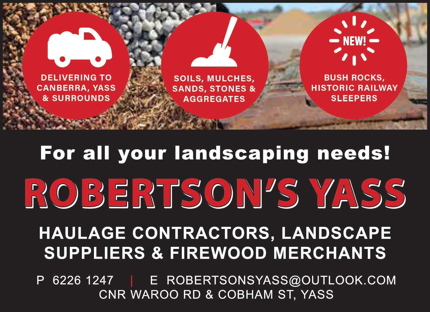Ad for Robertson's Landscaping supplies