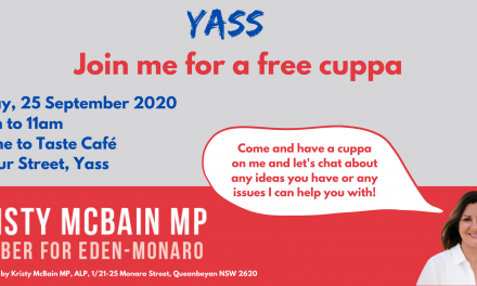 Kristy McBain MP Set To Visit Yass Friday September 25 at Thyme to Taste Between 10am and 11am
