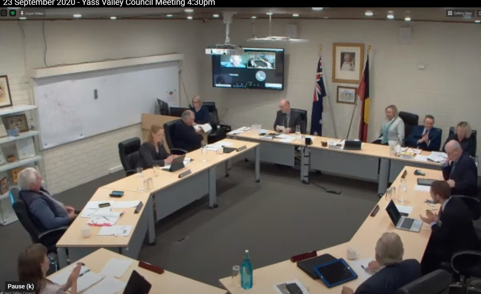 Councillors applaud Rowena Abbey's re-election to the position of Mayor at the September 2020 Yass Valley Council meeting yesterday afternoon