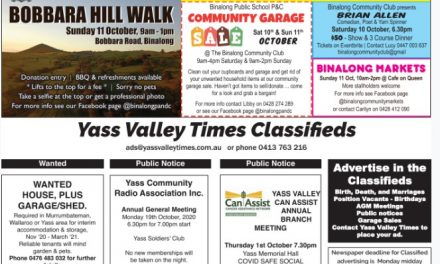 Classifieds & Binalong's big weekend details