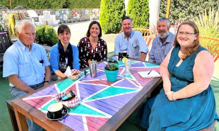 Kristy McBain meets with Business Owners and Yass Valley's newest centurion
