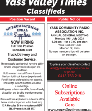 Classifieds- 14th of July edition
